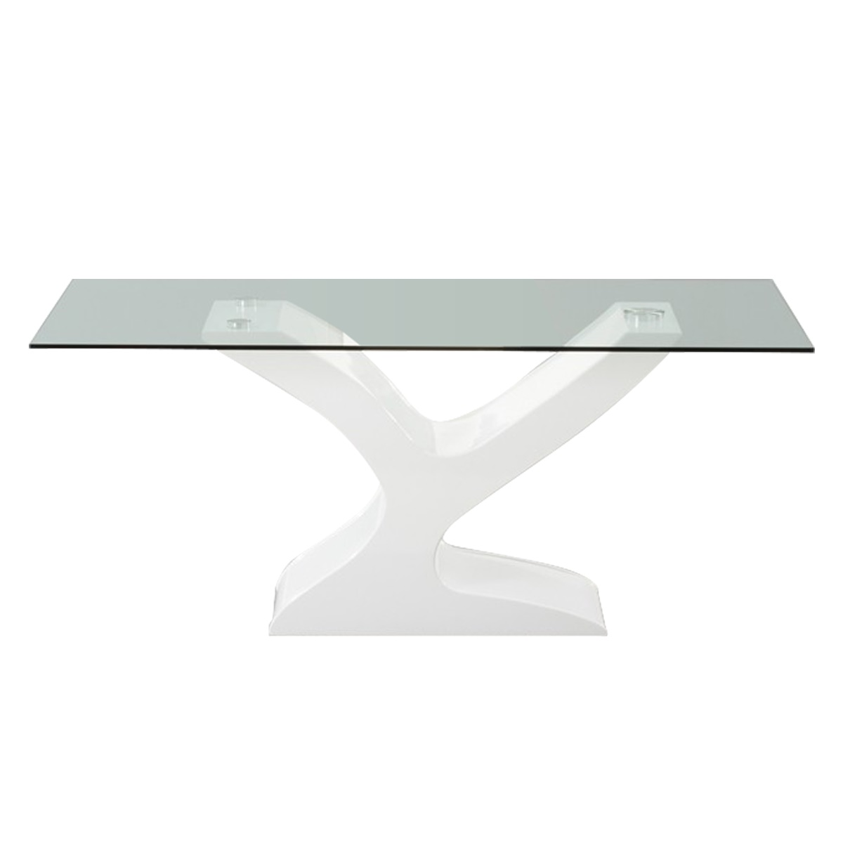 Alice Clear Glass & White Gloss Dining table 1