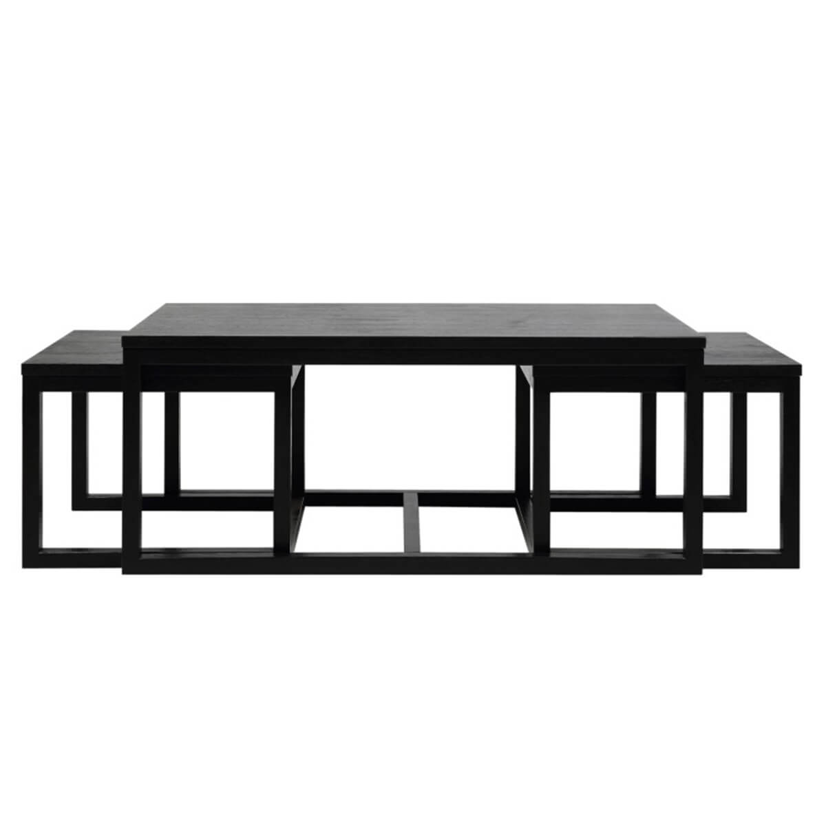 Curb Set of 3 Coffee Tables Black Ash Veneer