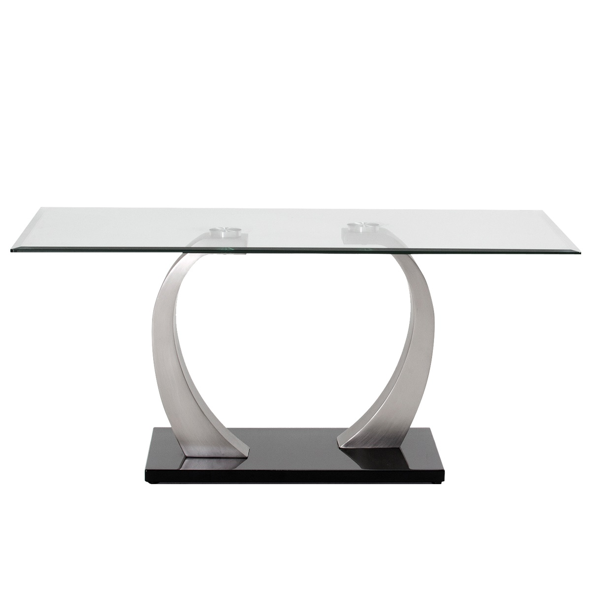Aspire Dining Table Tempered Glass with Brushed Steel Base 1