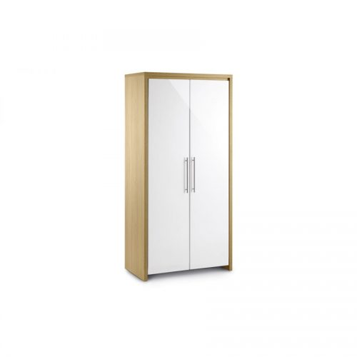 Stockholm 2 door white gloss and oak wardrobe