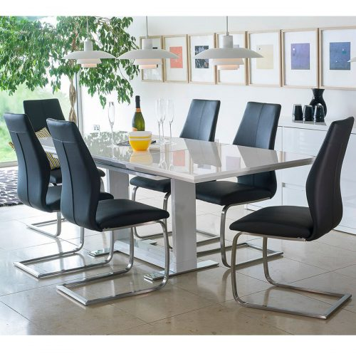 Allure Extending Dining Set 4 to 8 Seater White Gloss