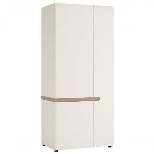 Chelsea 2 Door Wardrobe 85cm White Gloss & Truffle Oak