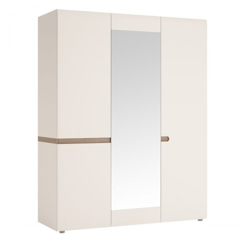 Chelsea 3 Door Mirrored Wardrobe 164cm White Gloss & Truffle Oak
