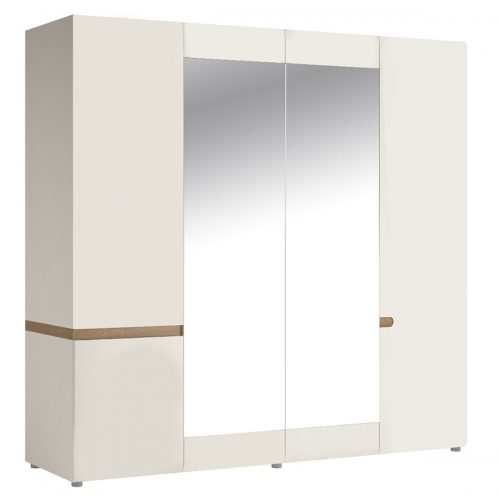 Chelsea 4 Door Mirrored Wardrobe 218cm White Gloss & Truffle Oak