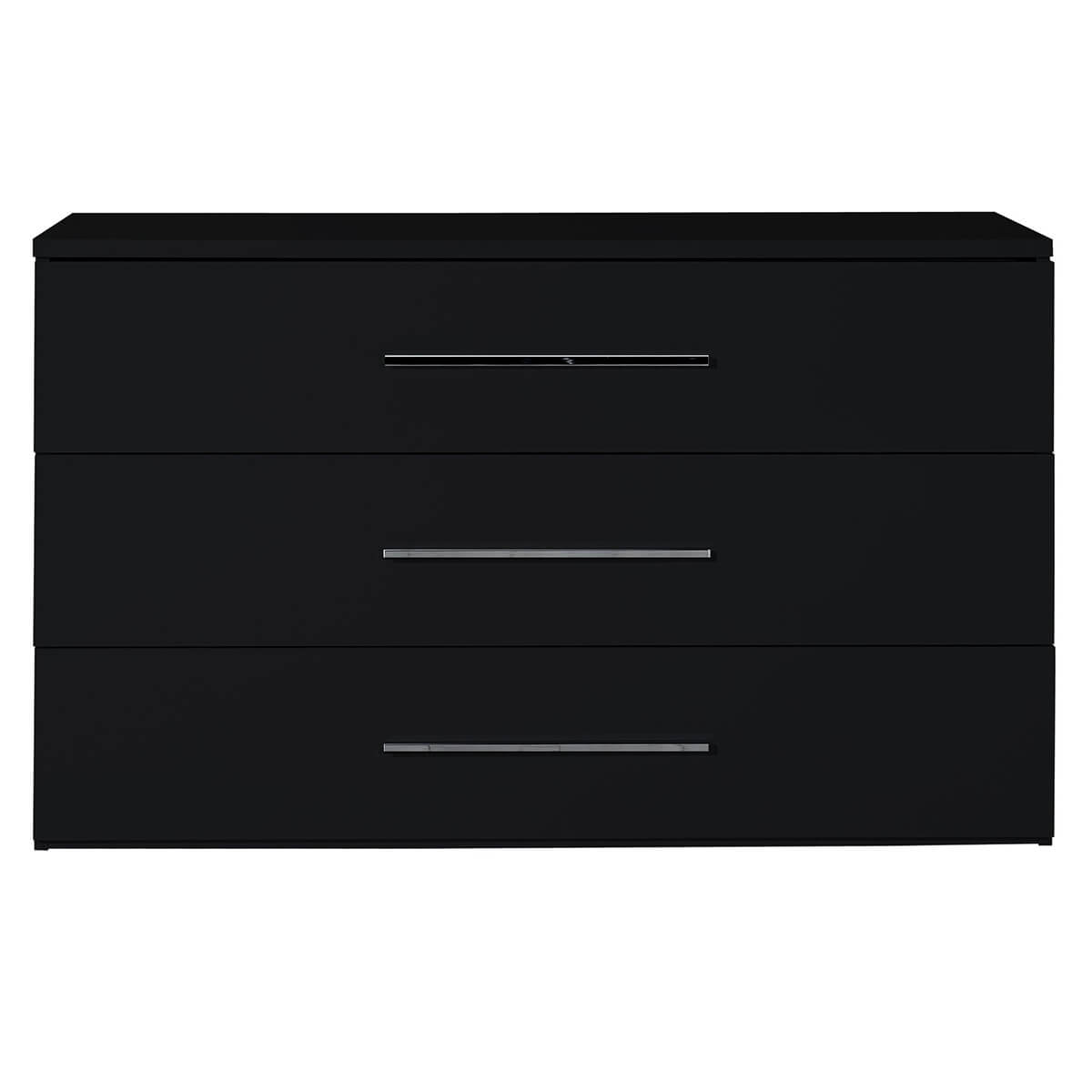 First 3 Drawer Chest Black High Gloss
