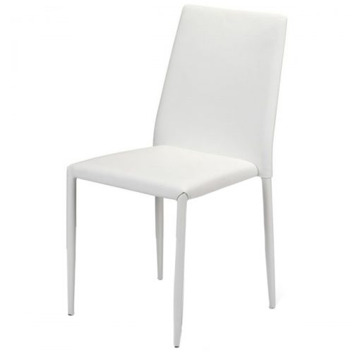Jazz Stacking Chair White Faux Leather