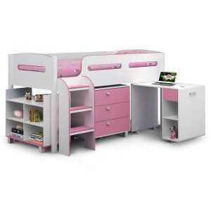 Kiddo Single Cabin Bed With Storage Pink & White