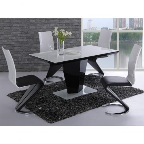 Leona Black and White Dining Set