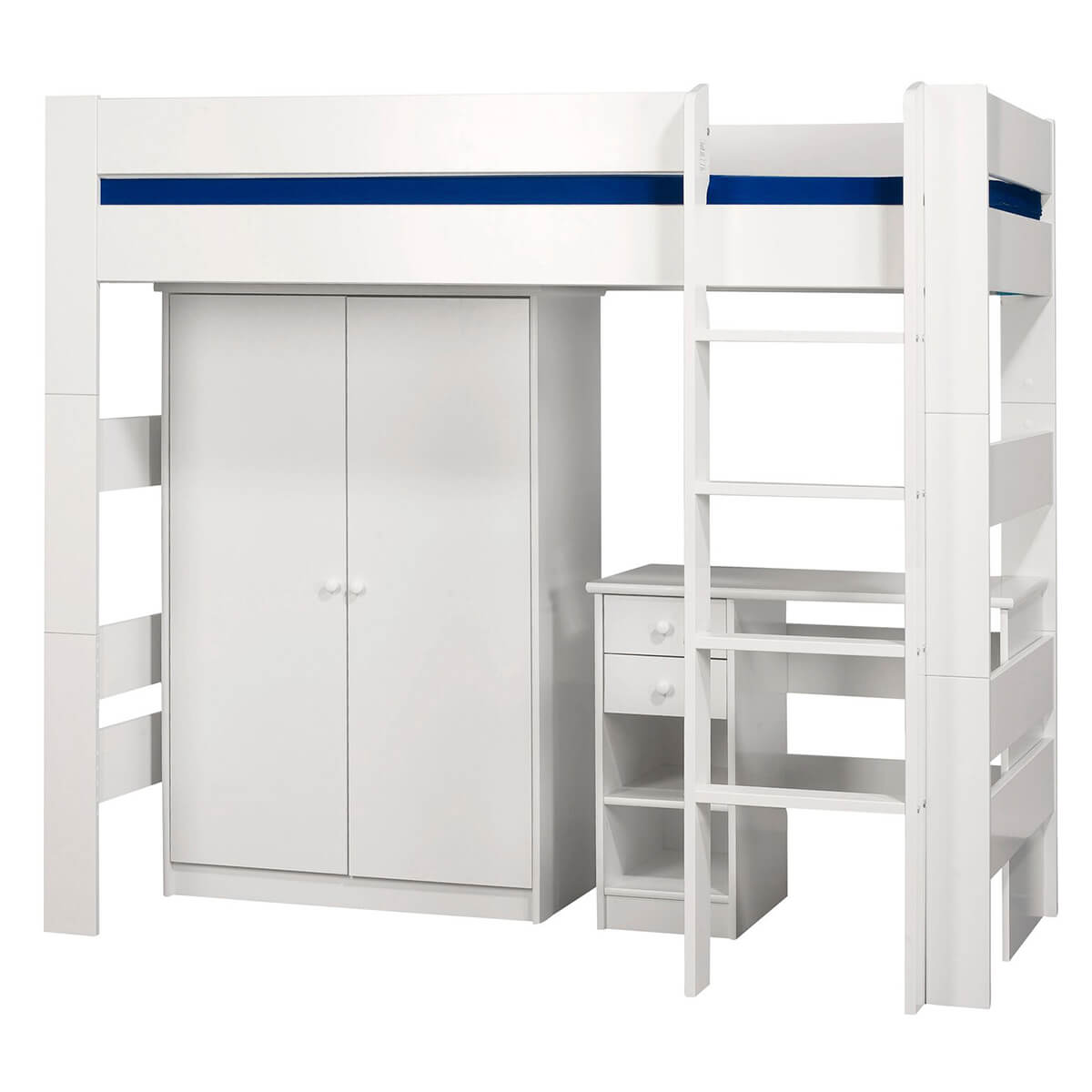 London High Sleeper with Wardrobe and Desk