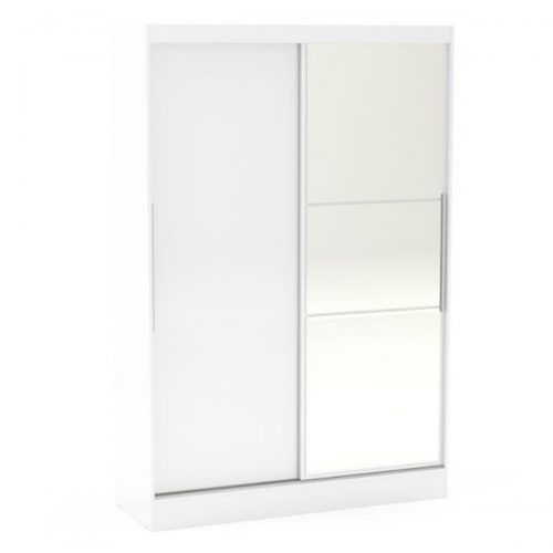 Lynx Sliding Door Mirrored Wardrobe 132cm White Gloss