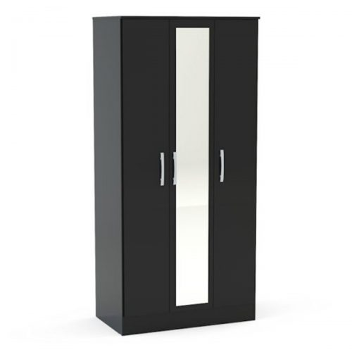 Lynx 3 Door Mirrored Wardrobe 93cm Black Gloss