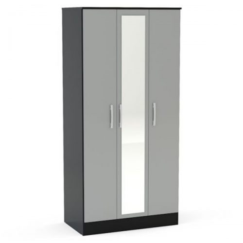 Lynx 3 Door Mirrored Wardrobe 93cm Grey & Black