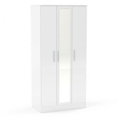 Lynx 3 Door Mirrored Wardrobe 93cm White Gloss