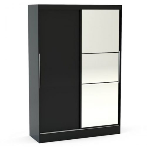 Lynx Sliding Door Mirrored Wardrobe 132cm Black Gloss