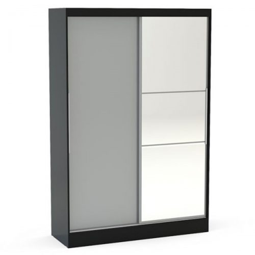 Lynx Sliding Door Mirrored Wardrobe 132cm Grey & Black Gloss