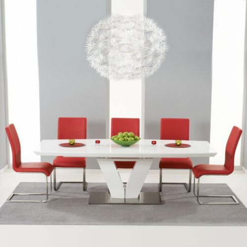 Malibu White Extending Dining Table - Red
