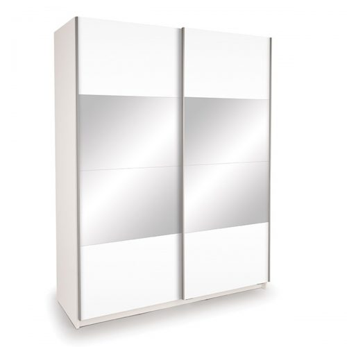 Miami Sliding Door Mirrored Wardrobe 150cm White High Gloss