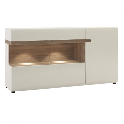 Mode Sideboard White Gloss & Truffle Oak 3 Door