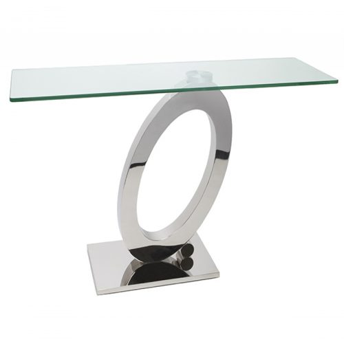 Orion Console Table Clear Glass & Stainless Steel