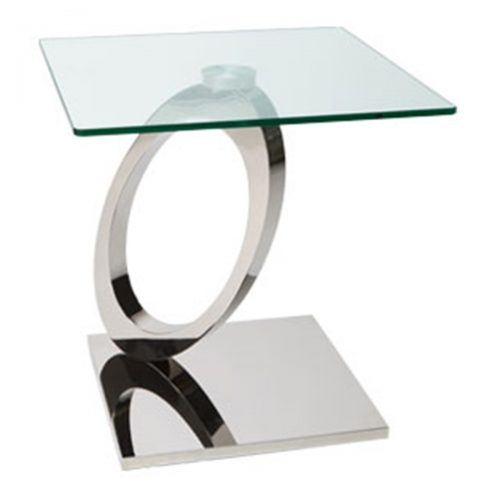Orion Lamp Table Glass & Stainless Steel