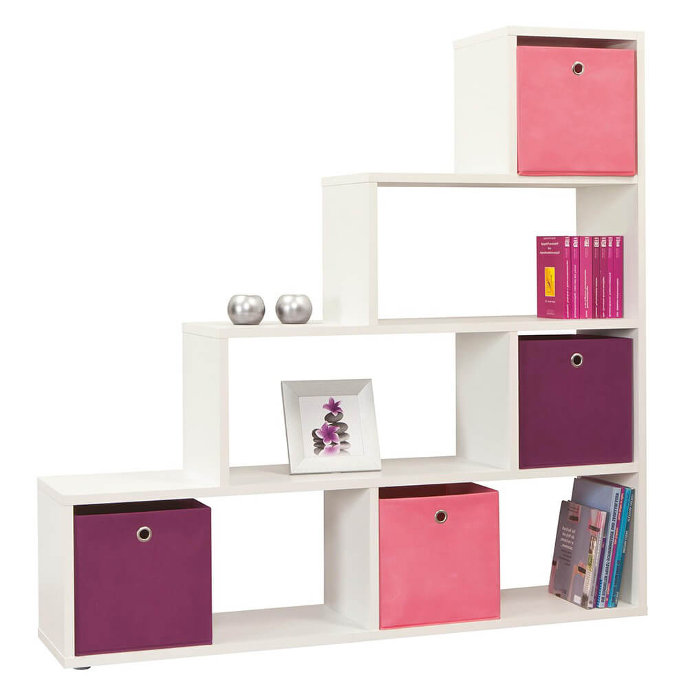 Room Divider Storage Bookcase Pearl White