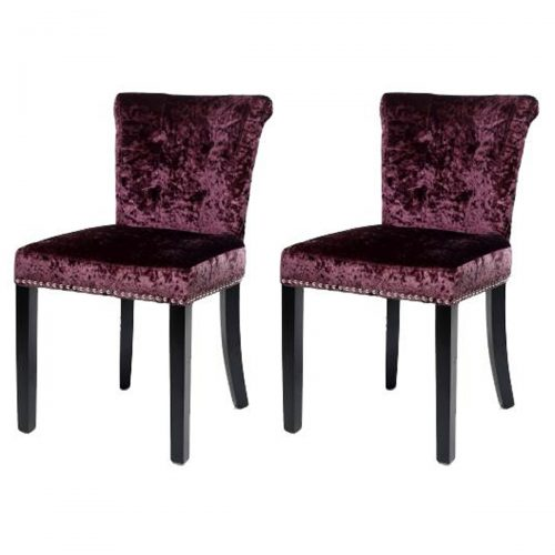 Sandringham Dining Chairs Grape Crushed Velvet