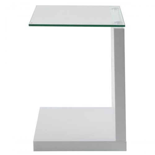 Tupit White High Gloss & Glass Lamp Table