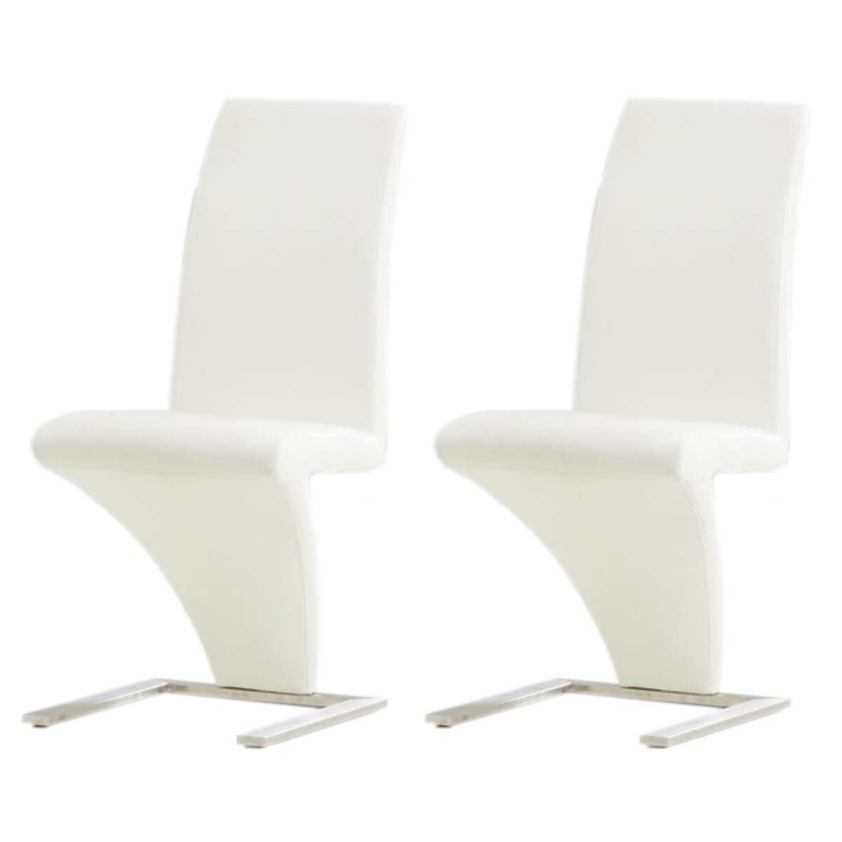 Z Shaped Dining Chairs White Faux Leather 1