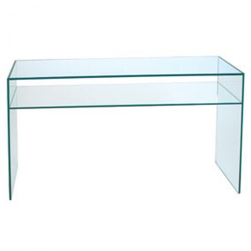 Demure Console Table Tempered Glass With Shelf