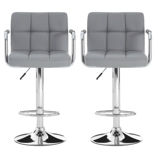 Stars Bar Stools Grey Faux Leather & Chrome