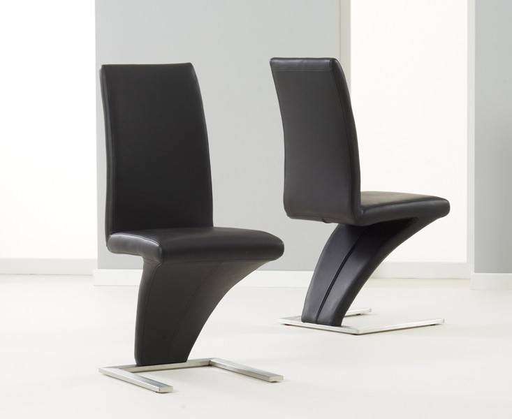 Z Shaped Dining Chairs Black Faux Leather 2