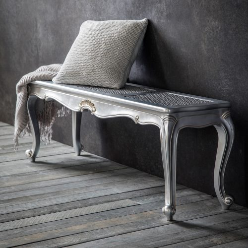 Madeleine Rococo Cane Work Bench in Silver at FADS.co.uk
