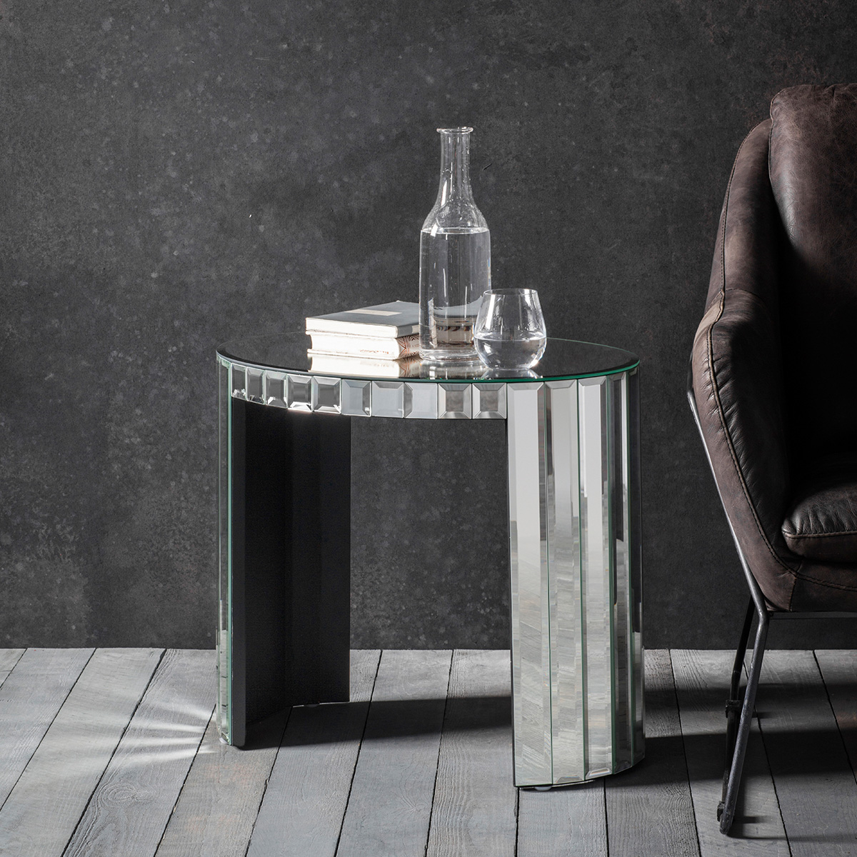 Odeon Mirrored Glass Side Table at FADS.co.uk