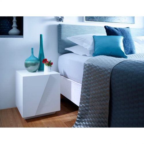 Glacier white high gloss bedside cabinet GILLMORESPACE FADS Furniture & Design Studio
