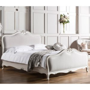 Madeleine silver leaf French Rococo style bed bedframe with cane or linen panels FADS Furniture & Design Studio