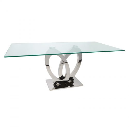 Orion-dining table glass and steel 6 - 8 seater