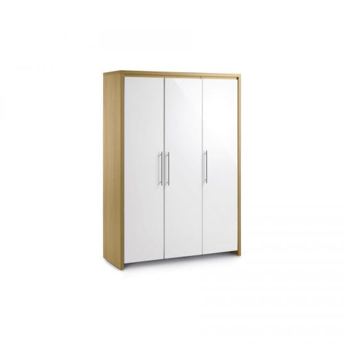 3 door wardrobe stockholm-white-gloss-and-oak-three-door-wardrobe