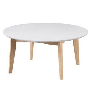 Abin Round Coffee Table White & Oak