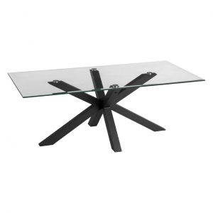 Accedo Clear Glass & Black Coffee Table