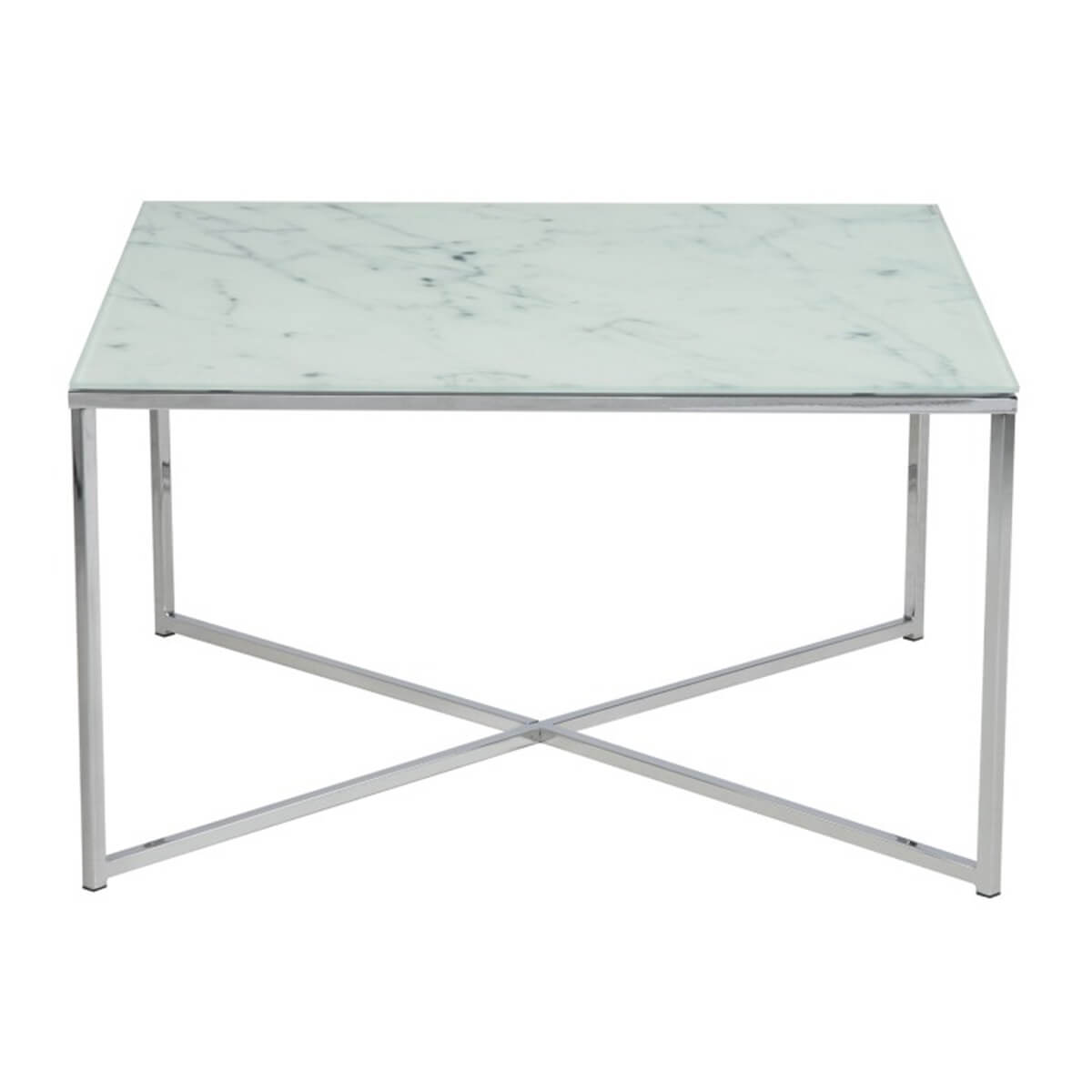 Beautiful Alisma White Marble Style Glass Coffee Table
