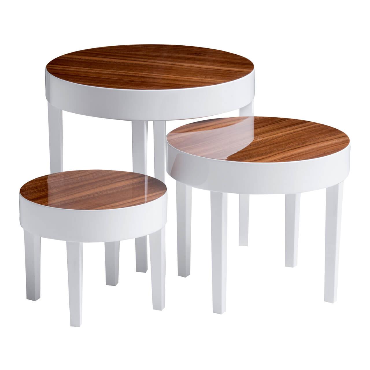 Apple Nest Of 3 Tables White High Gloss