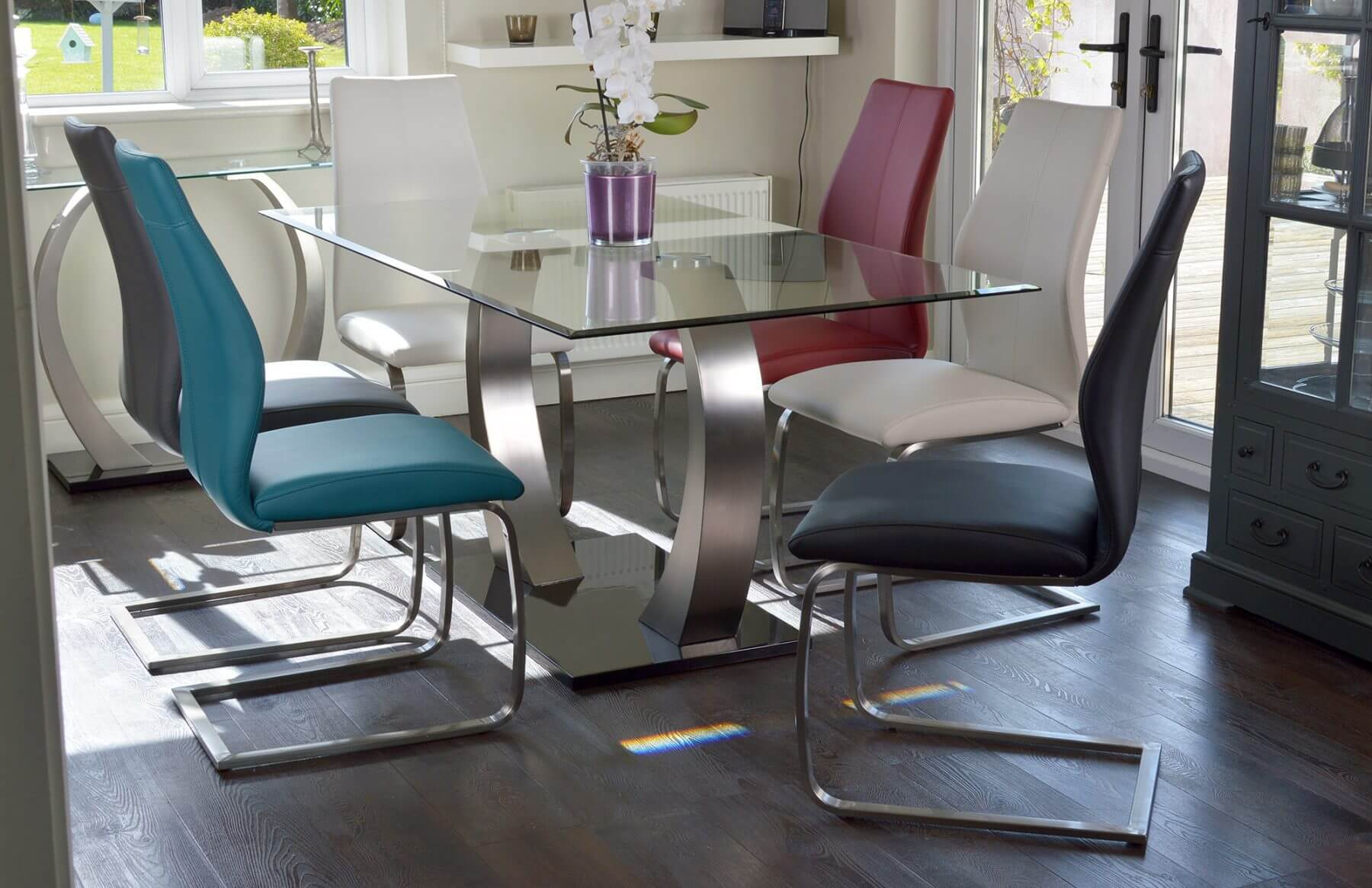 Aspire Dining Table Tempered Glass with Brushed Steel Base 5