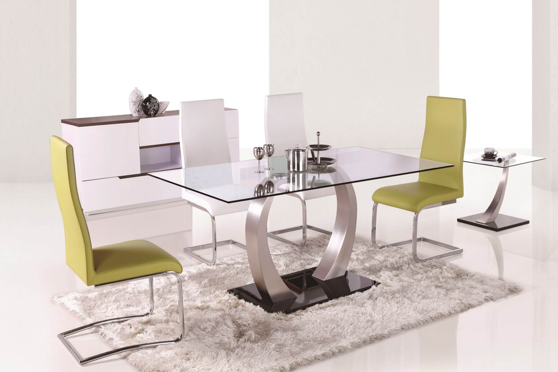 Aspire Dining Table Tempered Glass with Brushed Steel Base 6
