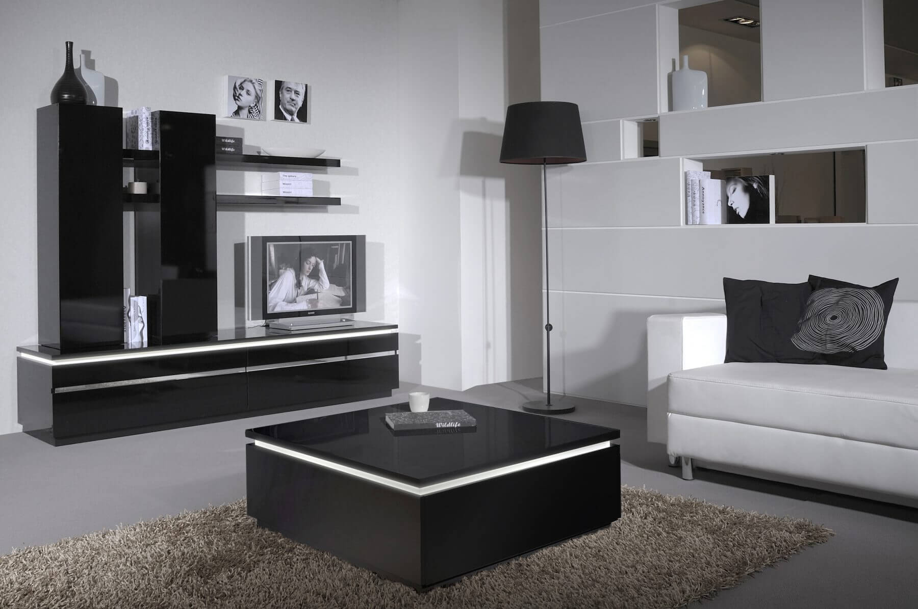 Logan High Gloss Black Coffee Table with Storage & Lights