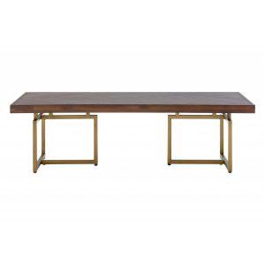 Brandy Wood & Brass Coffee Table