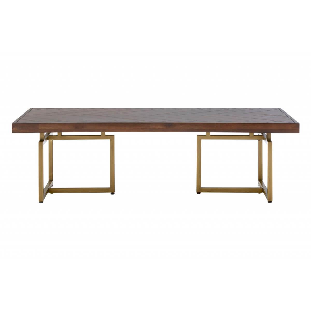 Brandy Acacia Wood & Brass Coffee Table