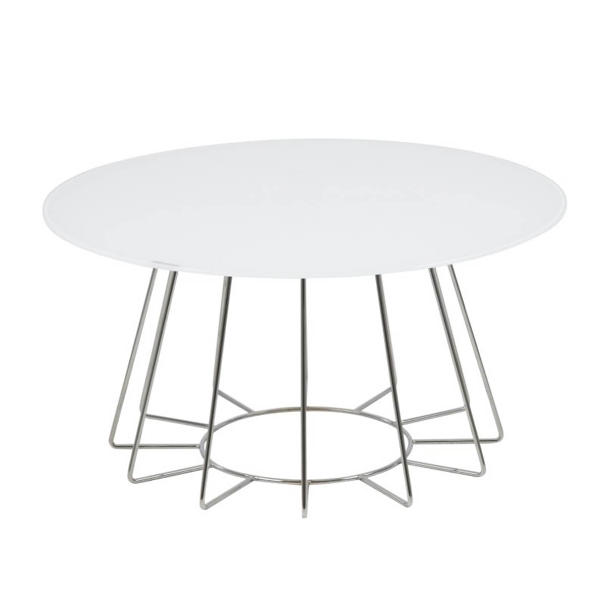 Casia White Glass Coffee Table With Chrome Legs Coffee Tables Fads