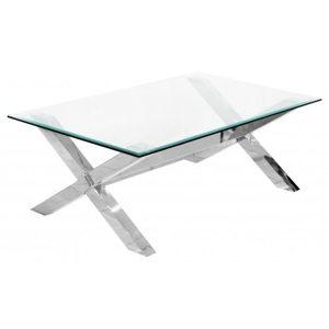 Criss Cross Modern Glass Coffee Table