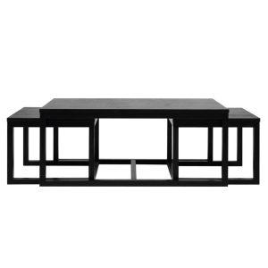 Curb Set of 3 Coffee Tables Black Ash Veneer