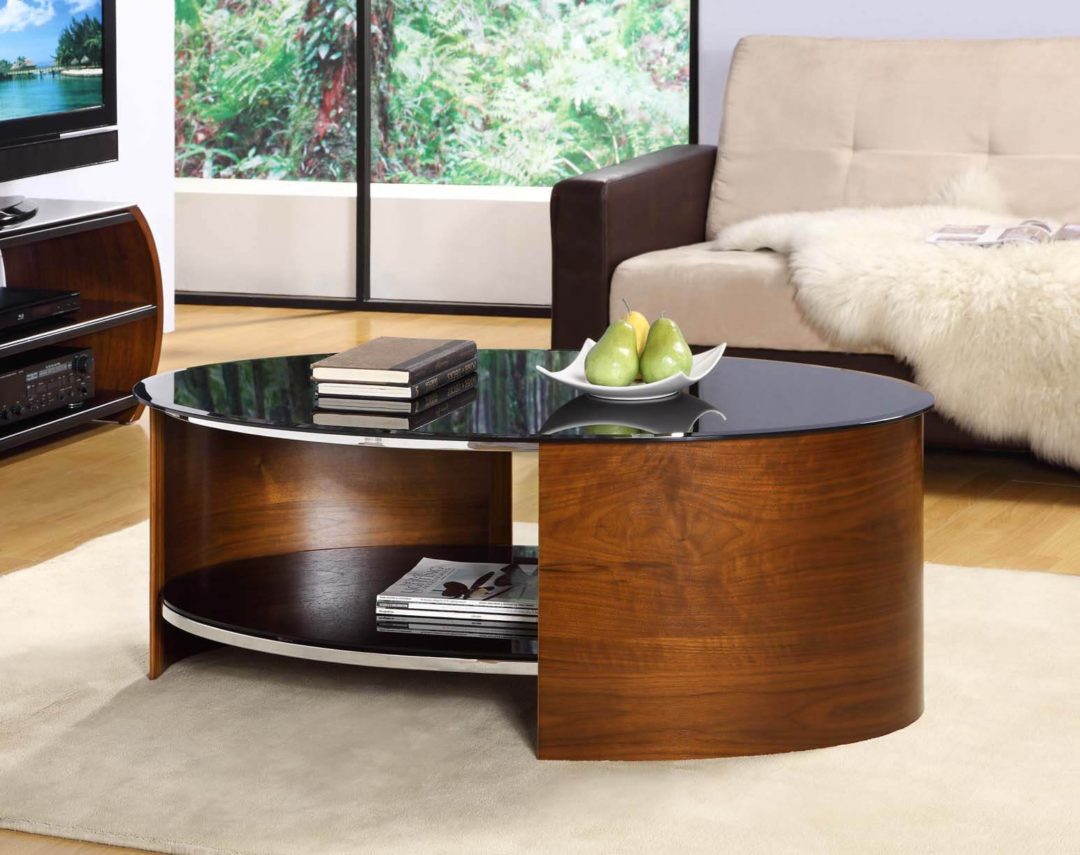 Jual Walnut & Black Glass Coffee Table 1